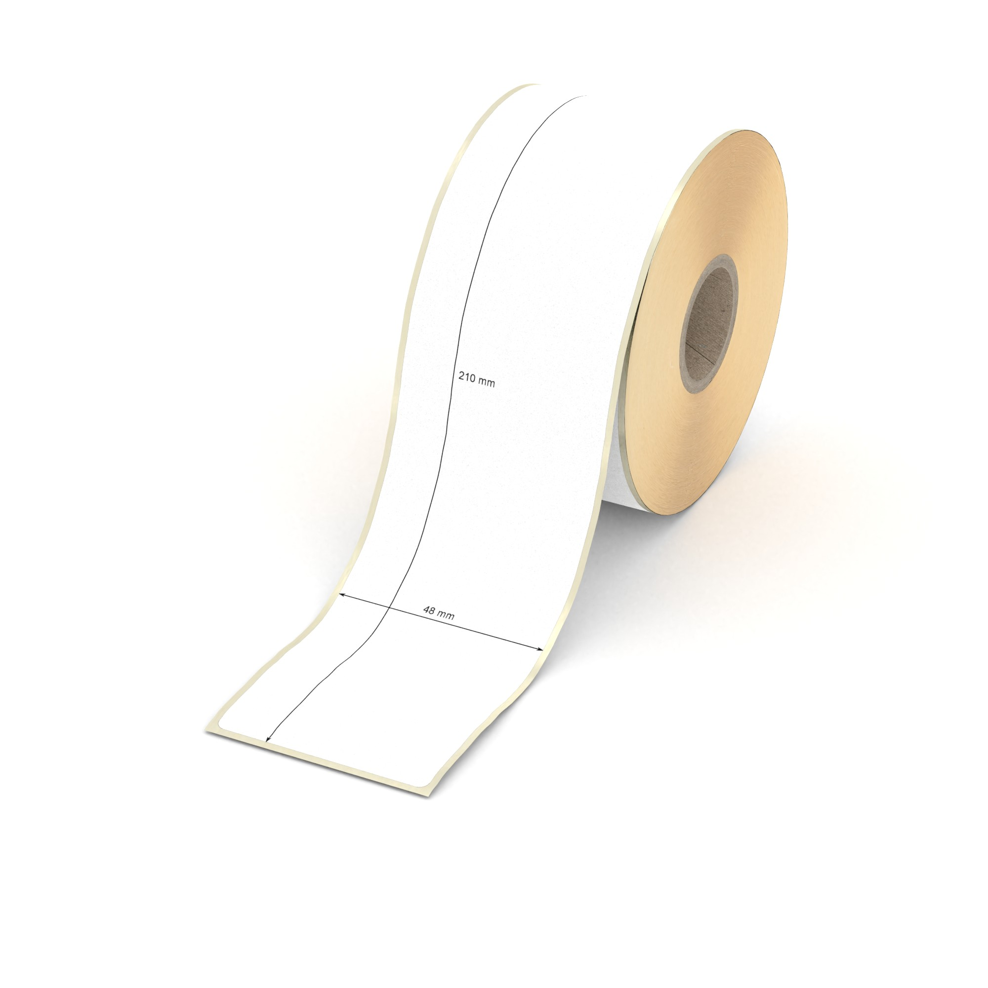 c1e9073026 Etikett 48 x 210 mm - Thermo-Papier - weiß - permanent - 25 mm Hülse ...