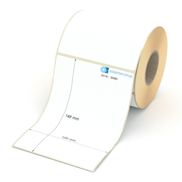 Etikett 105 x 148 mm - Thermo-Papier - weiß - permanent - 40 mm Hülse - 300 Etiketten je Rolle