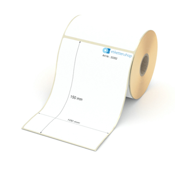 Etikett 100 x 150 mm - Thermo-Papier - weiß - permanent - 25 mm Hülse - 250 Etiketten je Rolle